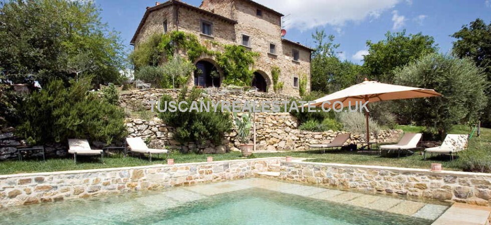 Restored Radda in Chianti property, in a quiet location, but not isolated, and about an hours drive from Siena, Florence, San Gimignano and Arezzo. 5 Bed farmhouse with pool, barn and olive grove.