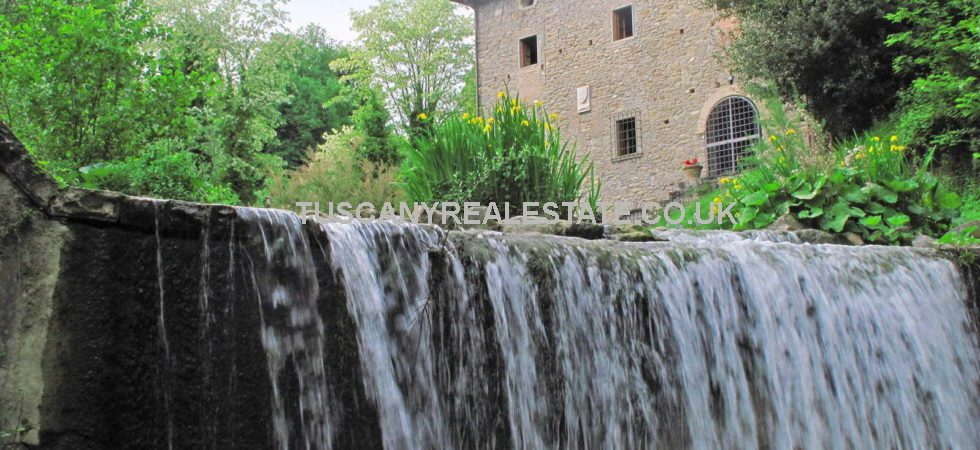 Near to Borgo San Lorenzo In Tuscany and only 41 km from Florence. Farm with converted water mill (on the banks of the Ensa stream), warehouse, barn, stable, private chapel, kennels and 40 ha of land for sale.