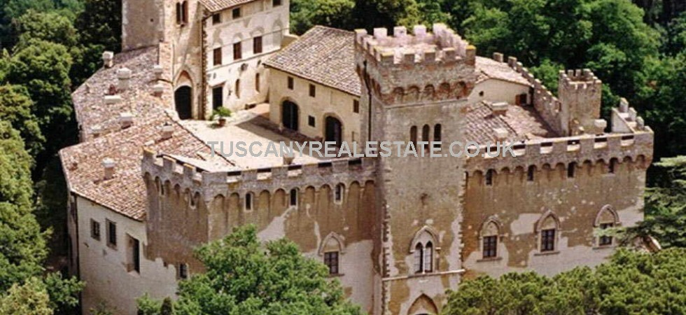 Tuscany castle hotel for sale with Chianti vineyard, olive grove and land