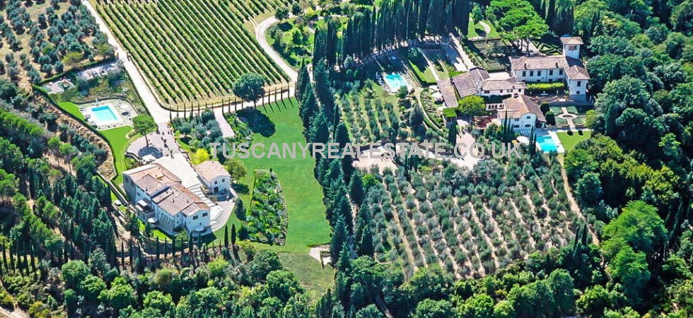 Luxury leisure property for sale San Casciano in Val di Pesa Tuscany. Presently used as home and luxury rental accommodation but could be used as a private prestige residence or expand the commercial usage. Complex comprises Renaissance villa, dependances, Italian garden, three swimming pools, vineyard and olive grove.