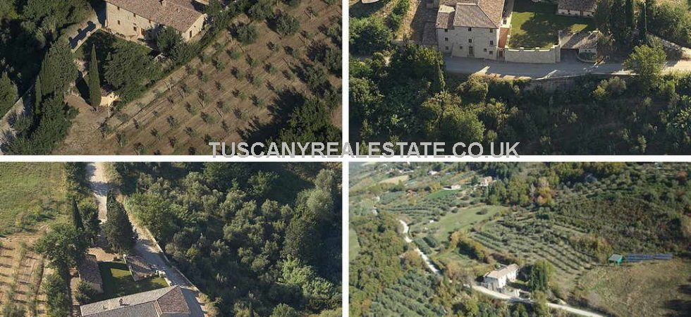 Restored Umbria farmhouse with small dependance, garden with olive grove and land.