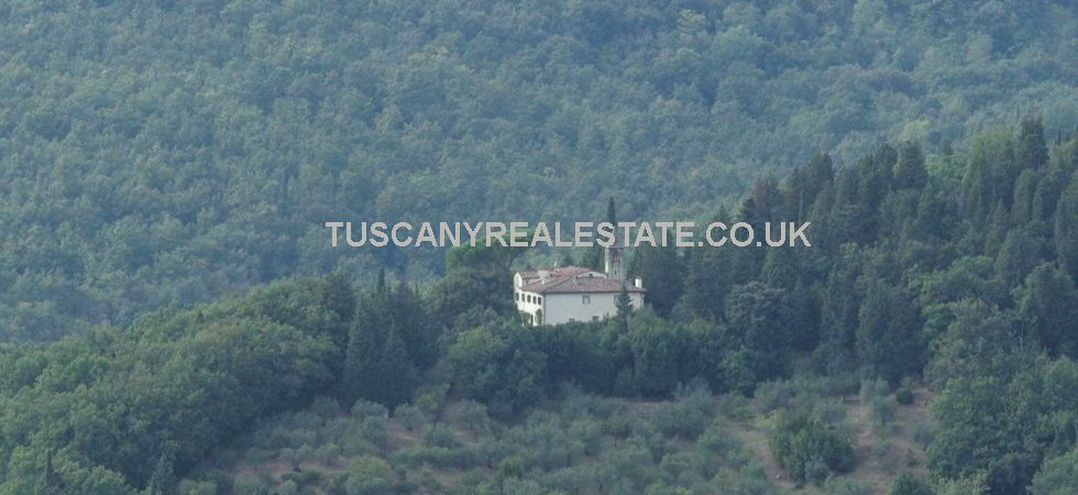 For sale, large restored historic Tuscan Villa with church and land in a magnificent location near to Fiesole overlooking both the valley and the wonderful city of Florence.