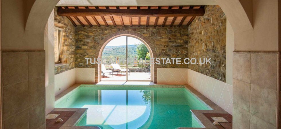 Historic property for sale Italy. Luxury property in the Tuscan medieval town of Pergine Valdarno. Large 7 bed property ideal as prestige home or Boutique hotel or B&B. Indoor pool and fitness area, garden.