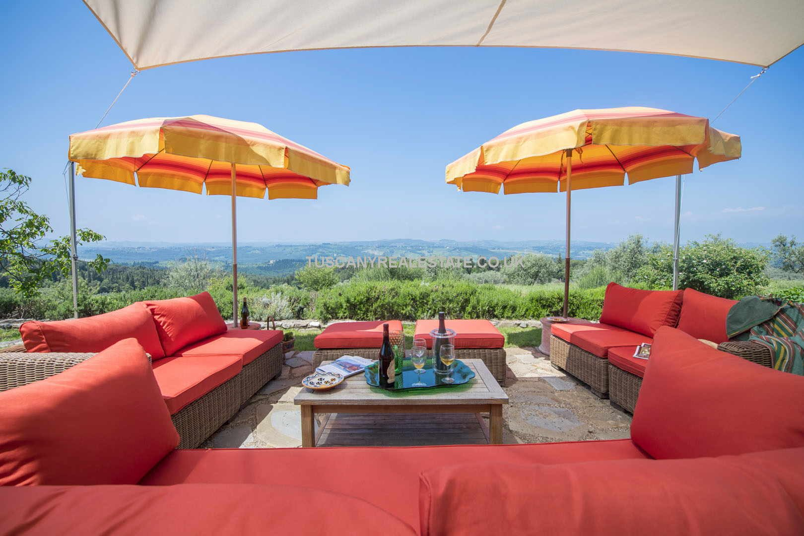 Florence Tuscany, countryside villa with swimming pool, garden and olive grove